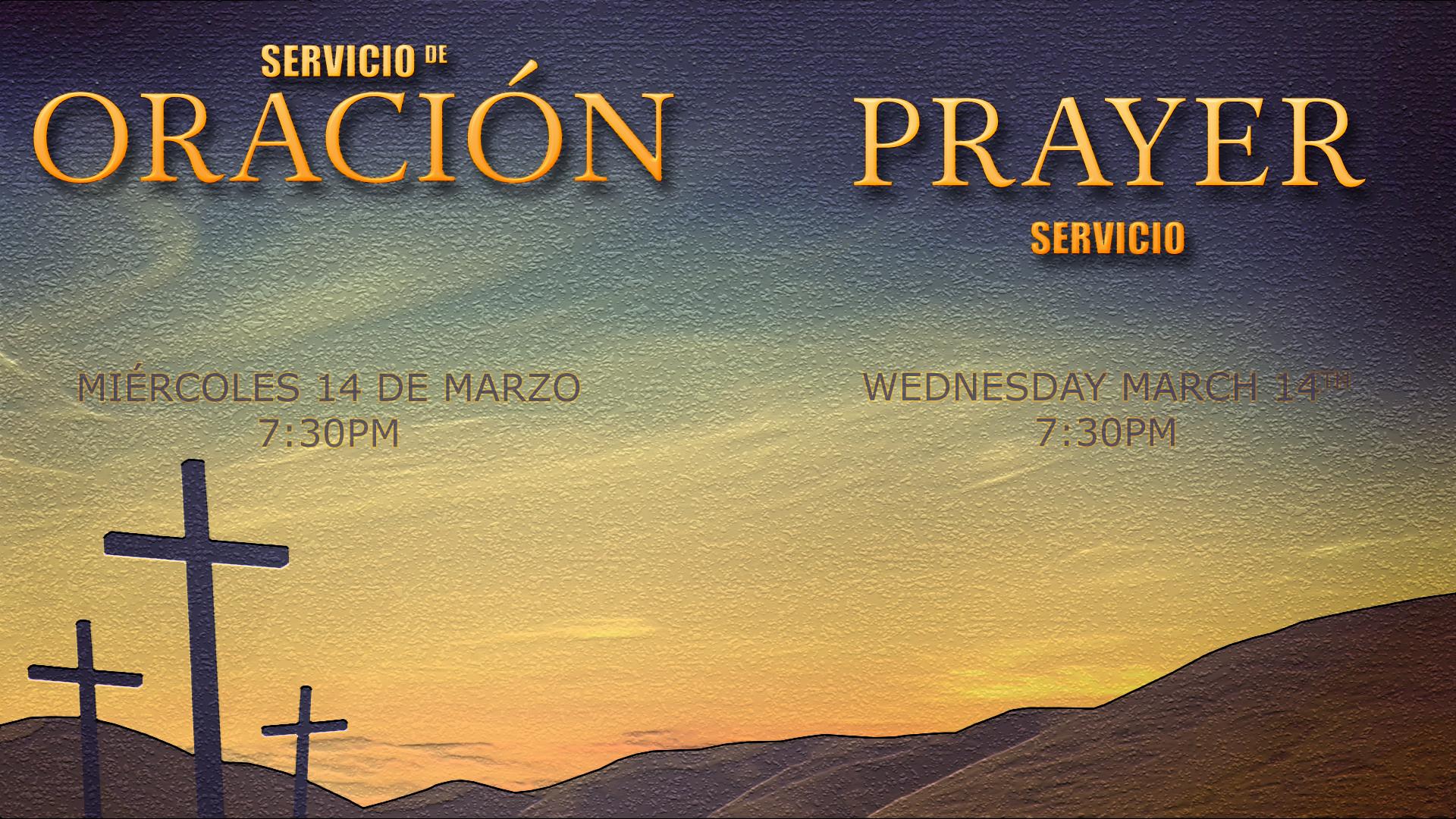Prayer Service Wednesday March 14th