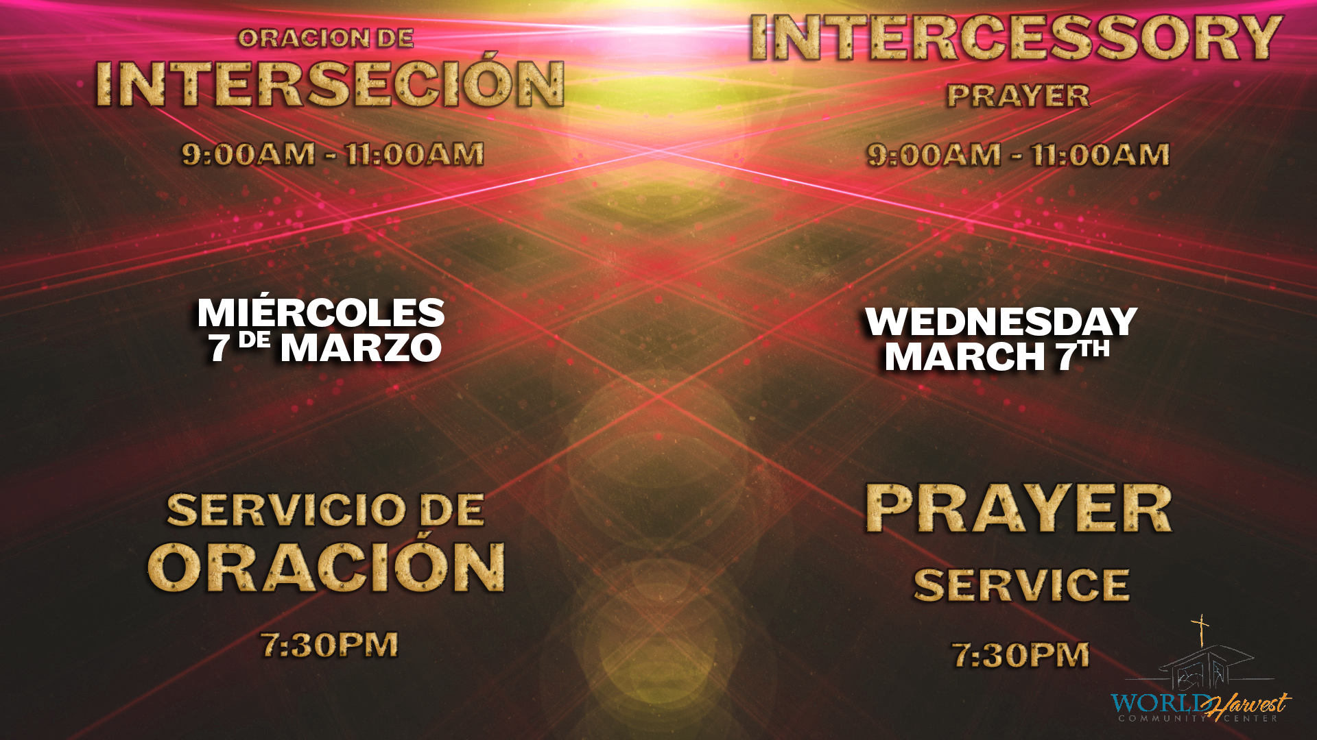 Intercessory & Prayer Service Wed Mar 7th