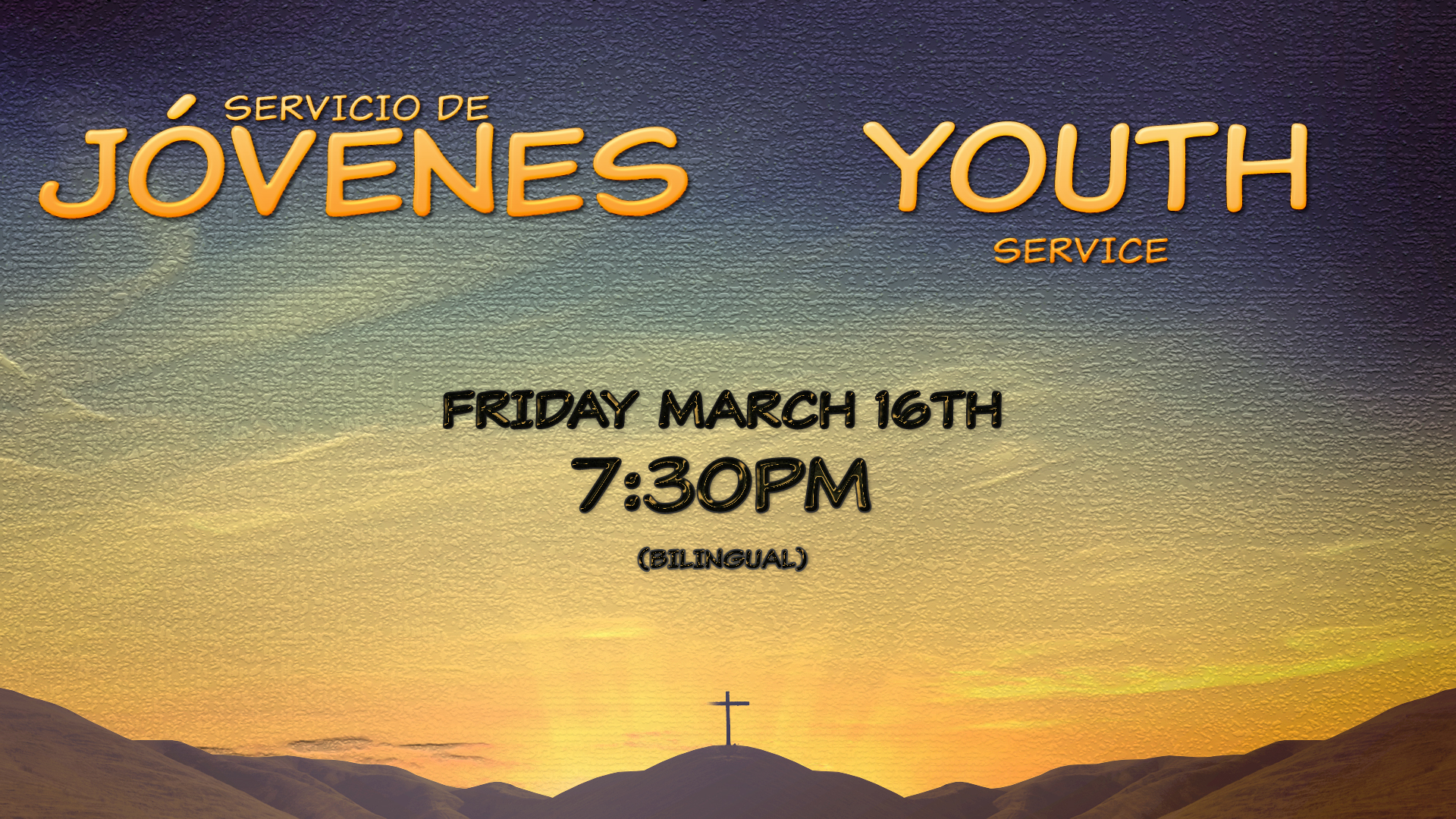 Youth Service Friday March 16th